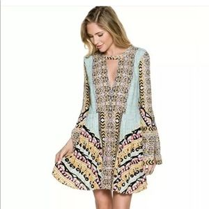 Free people long sleeve Tegan Aztec mini dress